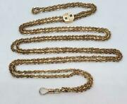 14k Yellow Gold 64 Slide Chain With Watch Fob Clasp