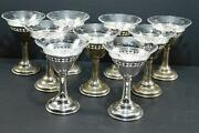Antique Fabulous Birks Sterling Clear Etched Glass Champagne Coupe Glasses Set 9