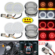 1157 Led Turn Signal Insert+smoke Lens Cover For Harley Dyna Fatboy Sportster883