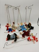 Antique Group Of 10 Really Unusual Small Wooden Puppets On Wire Support