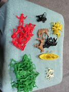 Tim Mee Cowboys And Indians And Horses 45 Pieces With Canoe Great Shape