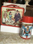 Vintage Superman Metal Lunchbox And Thermos 1978 Dc Comics Christopher Reeves Vc