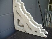 Pair Of 1800's White Antique Victorian Wooden Corbels Brackets From Cape May Nj