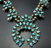 Old Pawn Navajo Sterling Silver Turquoise Cluster Squash Blossom Necklace