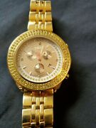 Menand039s Vintage Joe Rodeo Diamond Chronograph Gold Tone Stainless Steel Watch