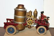 Early 1920's Kingsbury Wind Up Fire Pumper Truck With Driver And Bell