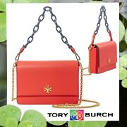 Nwt Kira Chain Shoulder Crossbody Bag In Poppy Red Leather Gold Navy