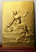 1930s Superb French Medal Award Bronze By Delpech Lady Winged Nude Trumpet