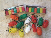 Vintage Blow Mold Plastic Owls And Capri Patio Camping Lantern String Lights