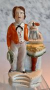 Antique Staffordshire Of Wales With Toy Boat 19th Century