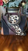 Coach Rogue 1941 Leopard Patchwork Suede Calf's Hair Glove Tanned Leather