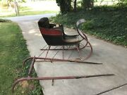 Antique One Horse Sleigh Original Paint Structurally Solid Makers Tag Intact