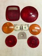 Vintage 7 Lot Red Tail Lens Tail Stop Brake Light Car Old Trucks Trailer Auto