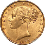 Great Britain 1861 Victoria Gold Sovereign Ngc Ms-62 N Over N In Britanniarum
