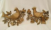 Two Vintage Collectible Syroco Bird Wall Art Gold Plastic 1966 Made In Usa