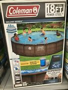 Coleman Power Steel Frame 18ft X 48in Round Above Ground Swimming Pool Set -new