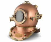 Diving Helmet Antique U.s Navy Armour In Copper Finish Mark Iv Collectibles