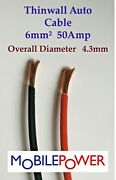 6mmandsup2 Thin Wall Auto Camper Cable 53a 12v 24v Red Or Black By The Metre