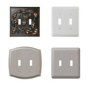 Double 2 Toggle Outlet Switch Wall Plate Cover Decorative White Nickel Steel Lot