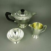 Elegant Tea Set Made Of Solid Silver And Ebony In Art Deco Style