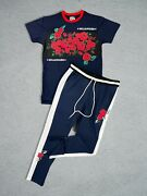 New 2-piece Mens Active Millionaire Rose Track Set Outfit T Shirt And Track Pants