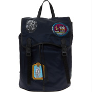 Versace Double Palazzo Buckle Nylon + Leather Patch Backpack - Navy - Sold Out