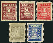 Norway Postage Due Stamp Collection Europe Norge Mint Lh