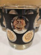 Vintage Mid Century Black And Gold Coin Libbey Glass Tumbler Set Of 6
