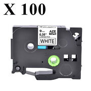 100pk Tz-221 Tze-221 Black On White Label Tape 9mmx8m For Brother P-touch