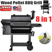 8in1 Wood Pellet Bbq Grill And Smoker Auto Tempera Control , 700sq In Cooking Area
