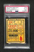 1936 World Series Game 6 Ticket Yankees 5th Clincher Title Psa 4 Highest Graded