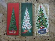 Vintage Christmas Cards Decorated Trees Midcentury Ornaments California Artists