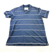 Eddie Bauer Polo Shirt Adult Large Blue White Blue Outdoor Rugby Casual Mens