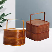 Chinese Style Bamboo Lunch Box Square Double-layer Design Storage Fruits