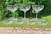 7 Vintage Champagne Glasses With Silver Trim