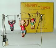 Henry Triple Trapeze Celluloid Wind-up Toy + Rare Orig. Box Variation Japan 1934
