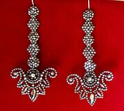 Antique 3 1/2-inch Georgian Cut-steel Earrings With Sterling Silver Wires