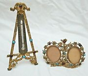 Vintage Double Picture Photo Frame And Matching Thermometer - Desk, Art, Vintage