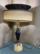 1950and039s Mid Century Continental Art Co Chalkware Pair Of Atomic Lamps And Shades