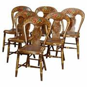 Antique German Folk Art Stenciled Fruit And Foliate Balloon Back Chairs, 19th C