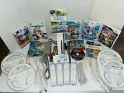 Nintendo Wii Console Rvl-001 Ultimate Bundle W/ 4 Controllers And 11 Games