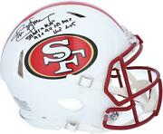 Steve Young Sf 49ers Signed Flat White Alternate Replica Helmet And Inscs - 1/8