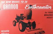 Gannon Earthcavator Fd-36 Fd-42 3-point Implement Garden Tractor Parts Manual +