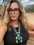 Vintage Navajo 1970andrsquos Turquoise And Sterling Squash Blossom Necklace
