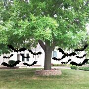 Halloween Yard Decorations With Scary Hanging Bats - Set Of 12 Plastic 12392