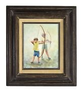 Vintage Oil Painting Two Young Boys With Bows And Arrows Archery