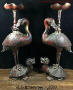 Collect Old Chinese Temple Bronze Gilt Red-crowned Crane Candlestick Statue Pair