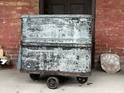 Antique 1890 Metal Laundry Cart Wheels Coffee Table Bar Cooler Industrial Island