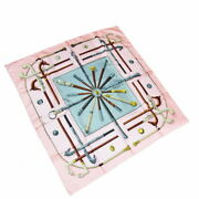 Hermes Scarf Carre 90 Cannes Pommeaux Cane Pattern Pink Silk 100 No.2557