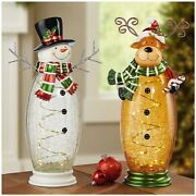 17 Hand Painted Crackle Glass Warm White Led Light Up Snowman And Moose Dm